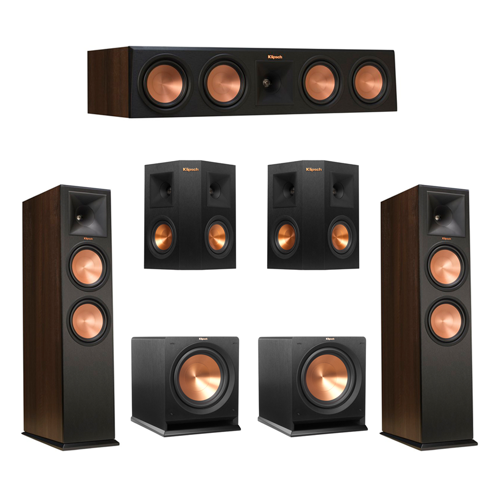 Klipsch 5.2 Walnut System with 2 RP-280F Tower Speakers, 1 RP-450C Center Speaker, 2 Klipsch RP-240S Ebony Surround Speakers, 2 Klipsch R-112SW Subwoofer