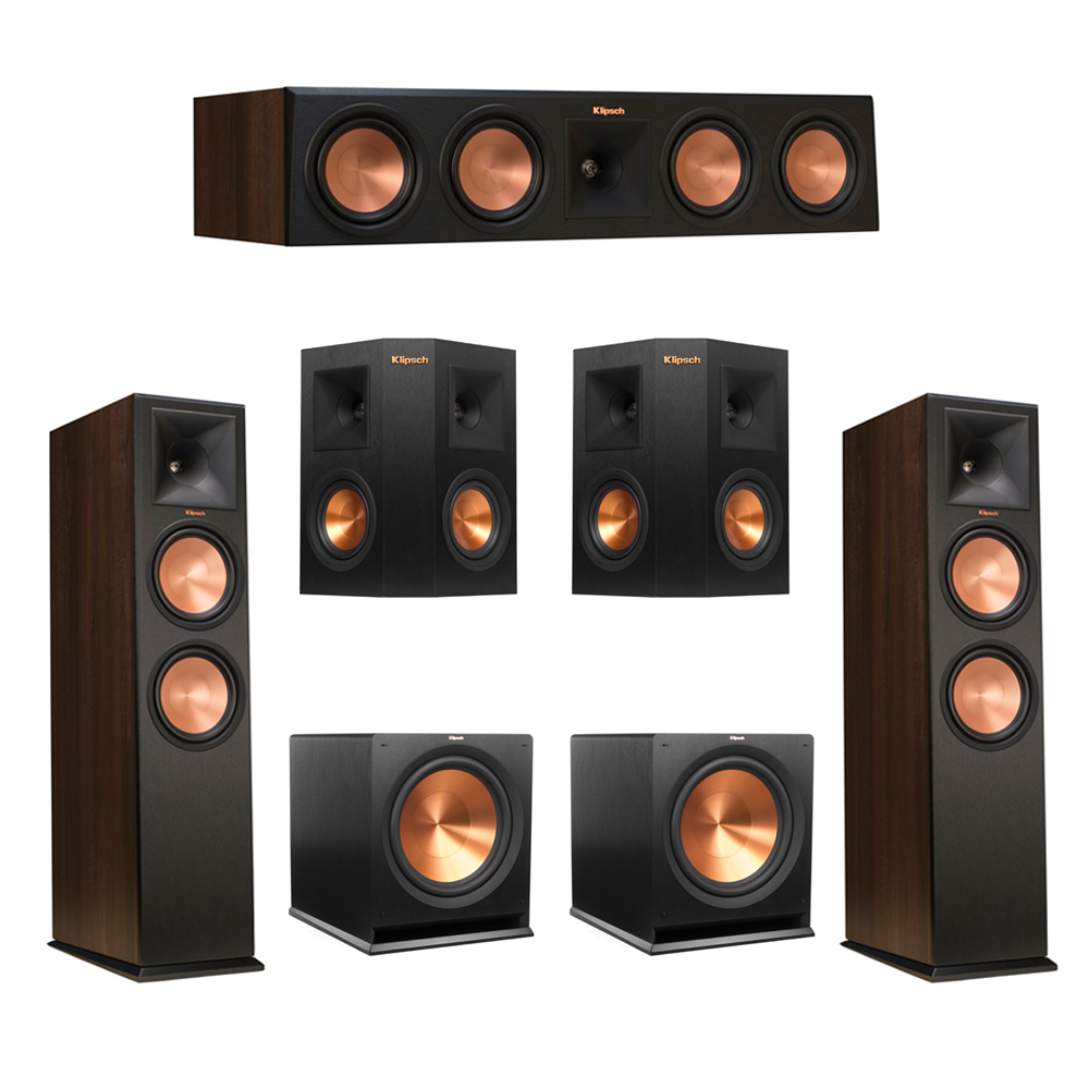 Klipsch 5.2 Walnut System with 2 RP-280F Tower Speakers, 1 RP-450C Center Speaker, 2 Klipsch RP-240S Ebony Surround Speakers, 2 Klipsch R-115SW Subwoofer