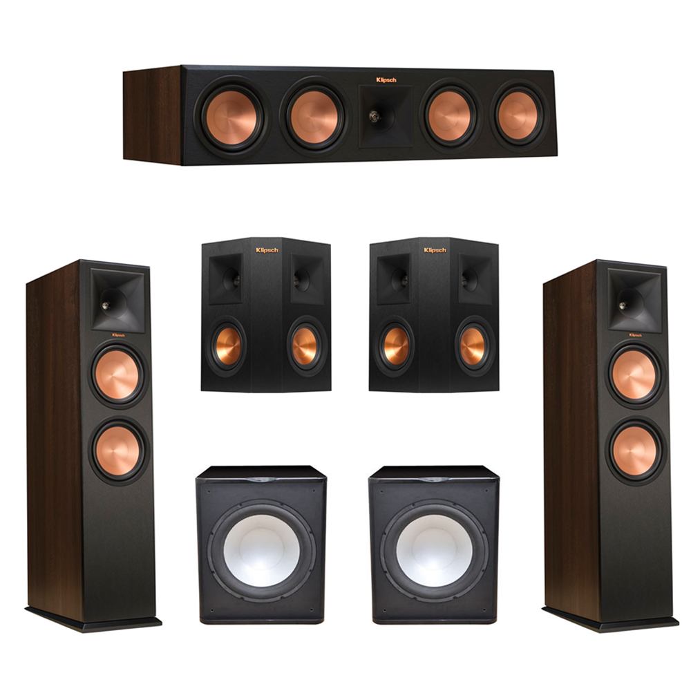 Klipsch 5.2 Walnut System with 2 RP-280F Tower Speakers, 1 RP-450C Center Speaker, 2 Klipsch RP-240S Ebony Surround Speakers, 2 Premier Acoustic PA-150 Subwoofer