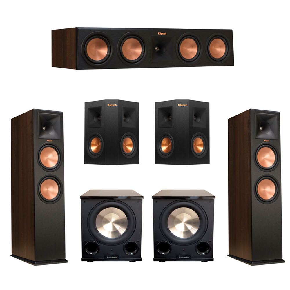Klipsch 5.2 Walnut System with 2 RP-280F Tower Speakers, 1 RP-450C Center Speaker, 2 Klipsch RP-240S Ebony Surround Speakers, 2 BIC/Acoustech Platinum Series PL-200 II Subwoofer