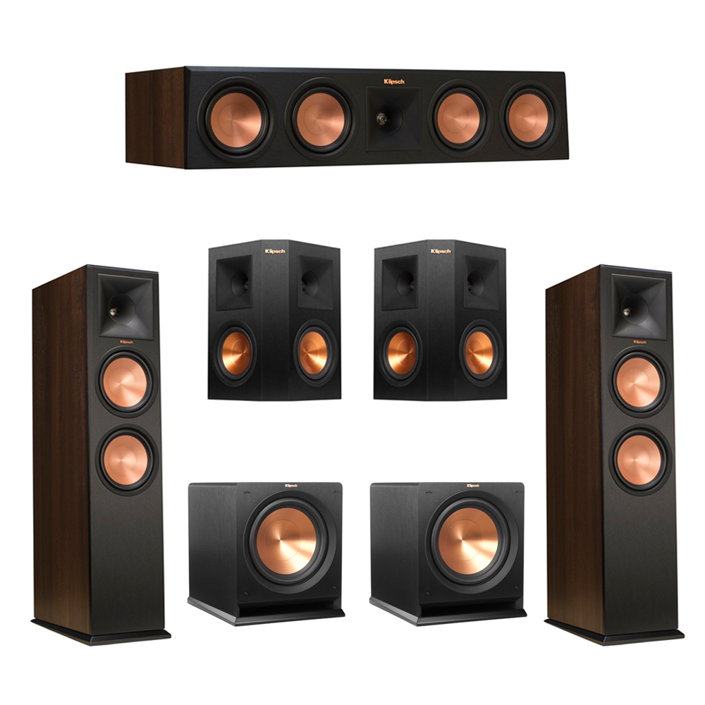 Klipsch 5.2 Walnut System with 2 RP-280F Tower Speakers, 1 RP-450C Center Speaker, 2 Klipsch RP-250S Ebony Surround Speakers, 2 Klipsch R-112SW Subwoofer