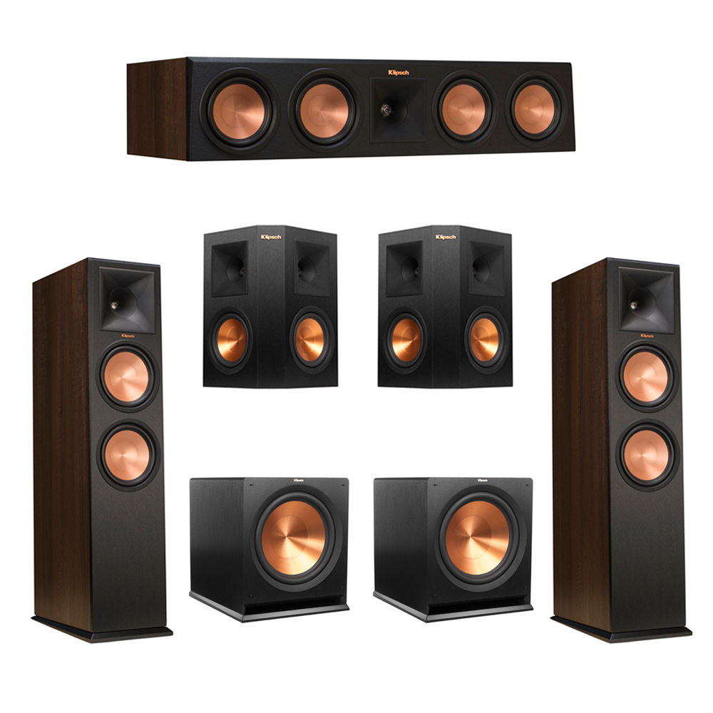 Klipsch 5.2 Walnut System with 2 RP-280F Tower Speakers, 1 RP-450C Center Speaker, 2 Klipsch RP-250S Ebony Surround Speakers, 2 Klipsch R-115SW Subwoofer