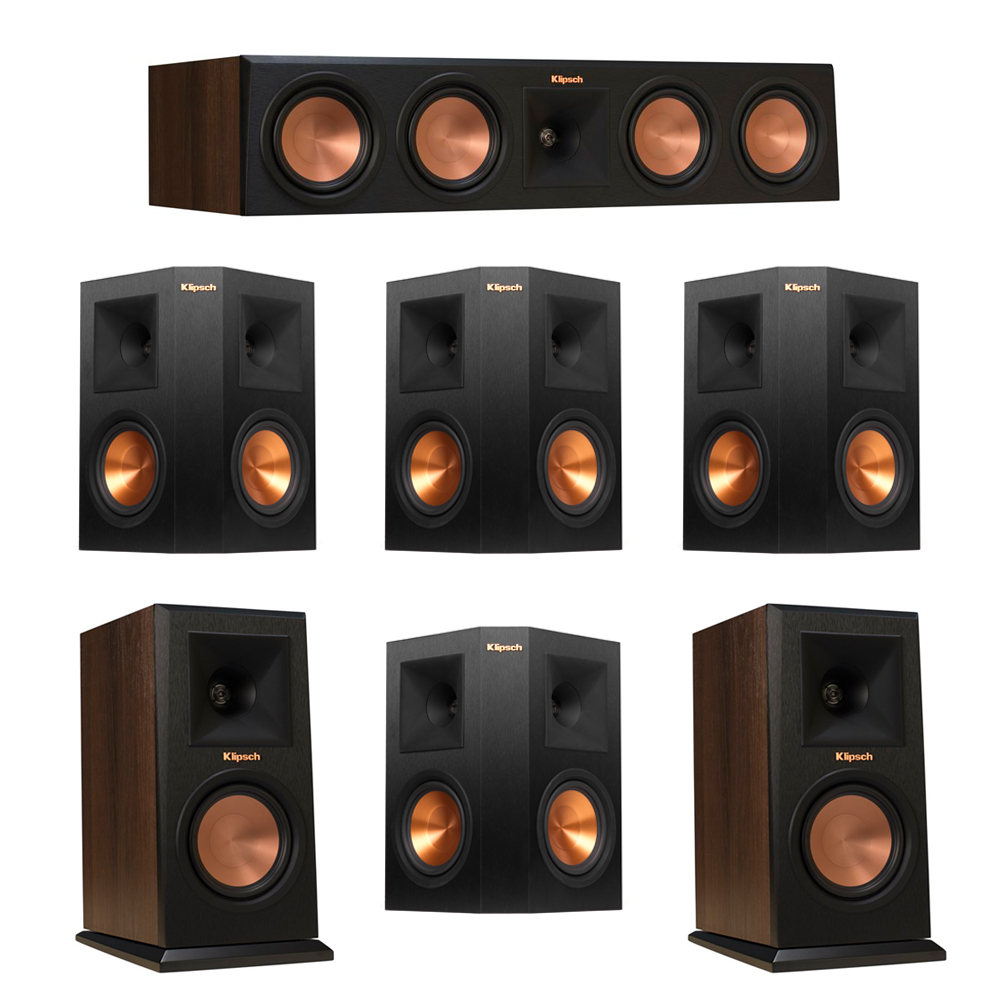 Klipsch 7.0 Walnut System with 2 RP-150M Monitor Speakers, 1 RP-450C Center Speaker, 4 Klipsch RP-250S Ebony Surround Speakers