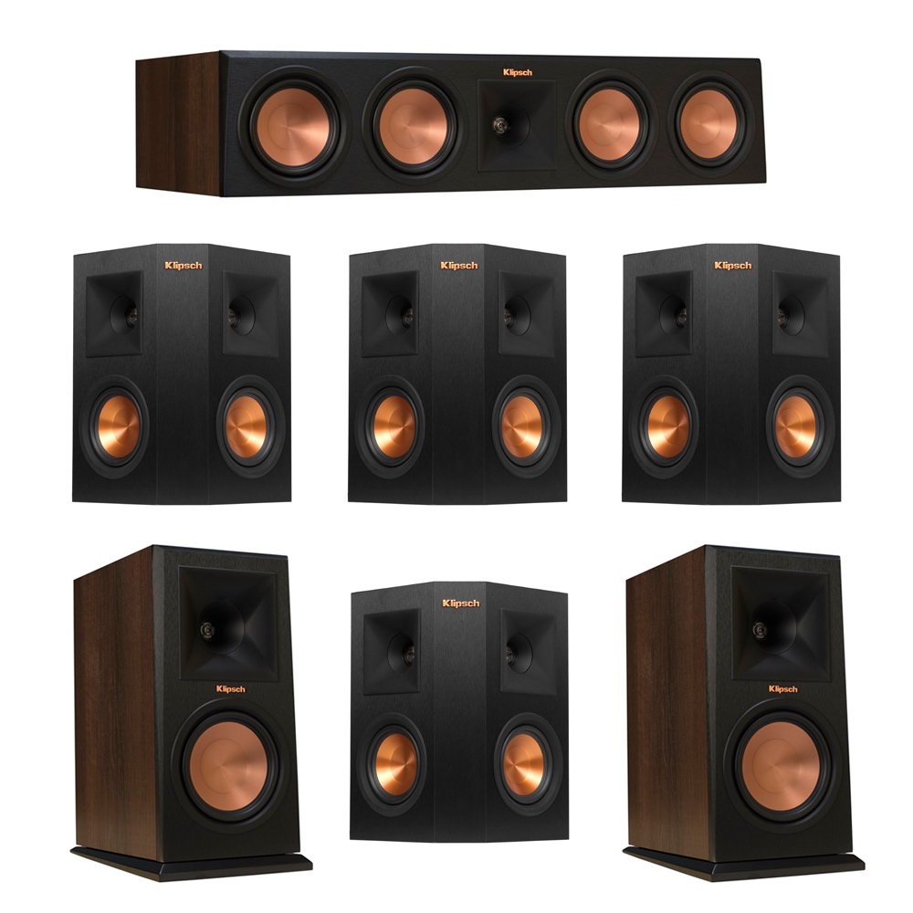 Klipsch 7.0 Walnut System with 2 RP-160M Monitor Speakers, 1 RP-450C Center Speaker, 4 Klipsch RP-240S Ebony Surround Speakers