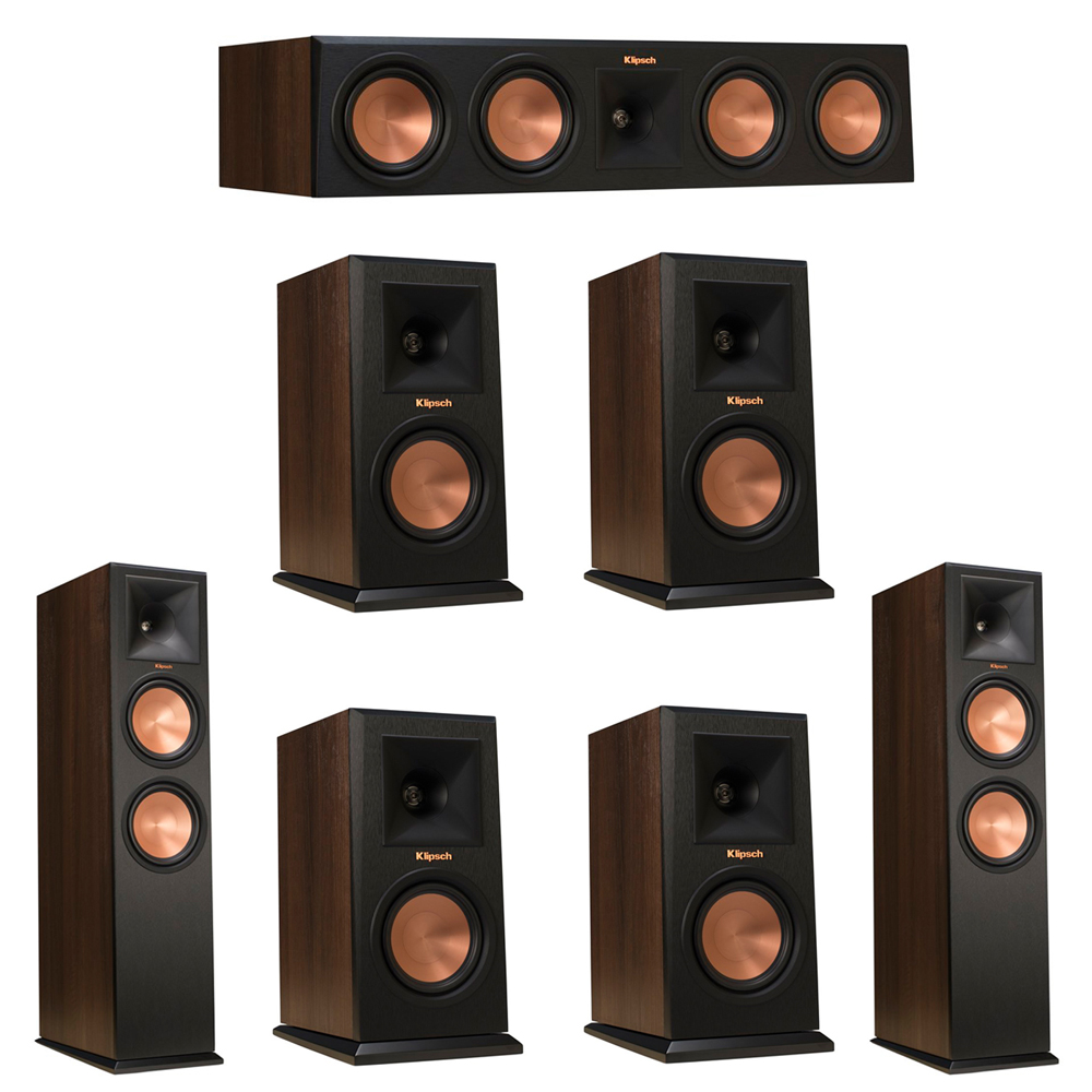 Klipsch 7.0 Walnut System with 2 RP-280F Tower Speakers, 1 RP-450C Center Speaker, 4 Klipsch RP-150M Bookshelf Speakers