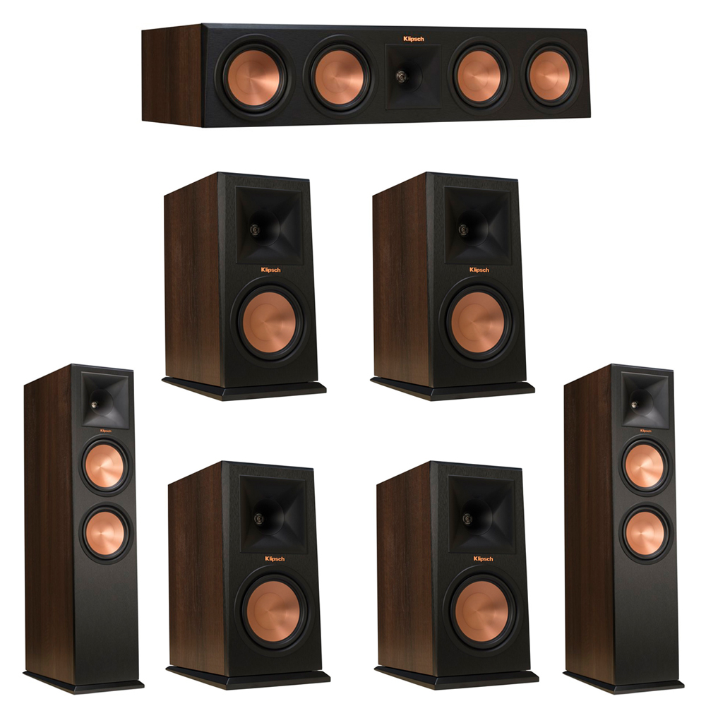 Klipsch 7.0 Walnut System with 2 RP-280F Tower Speakers, 1 RP-450C Center Speaker, 4 Klipsch RP-160M Bookshelf Speakers