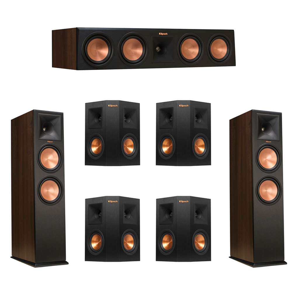 Klipsch 7.0 Walnut System with 2 RP-280F Tower Speakers, 1 RP-450C Center Speaker, 4 Klipsch RP-240S Ebony Surround Speakers