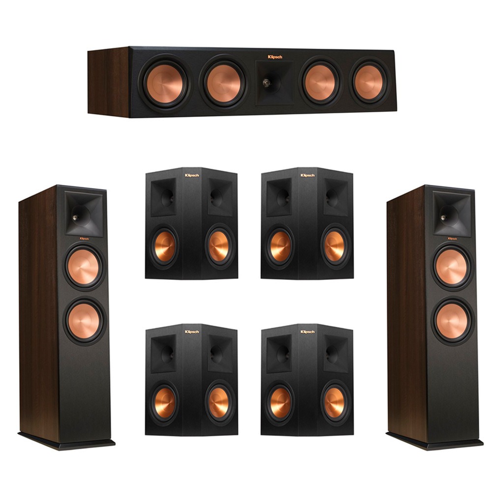 Klipsch 7.0 Walnut System with 2 RP-280F Tower Speakers, 1 RP-450C Center Speaker, 4 Klipsch RP-250S Ebony Surround Speakers