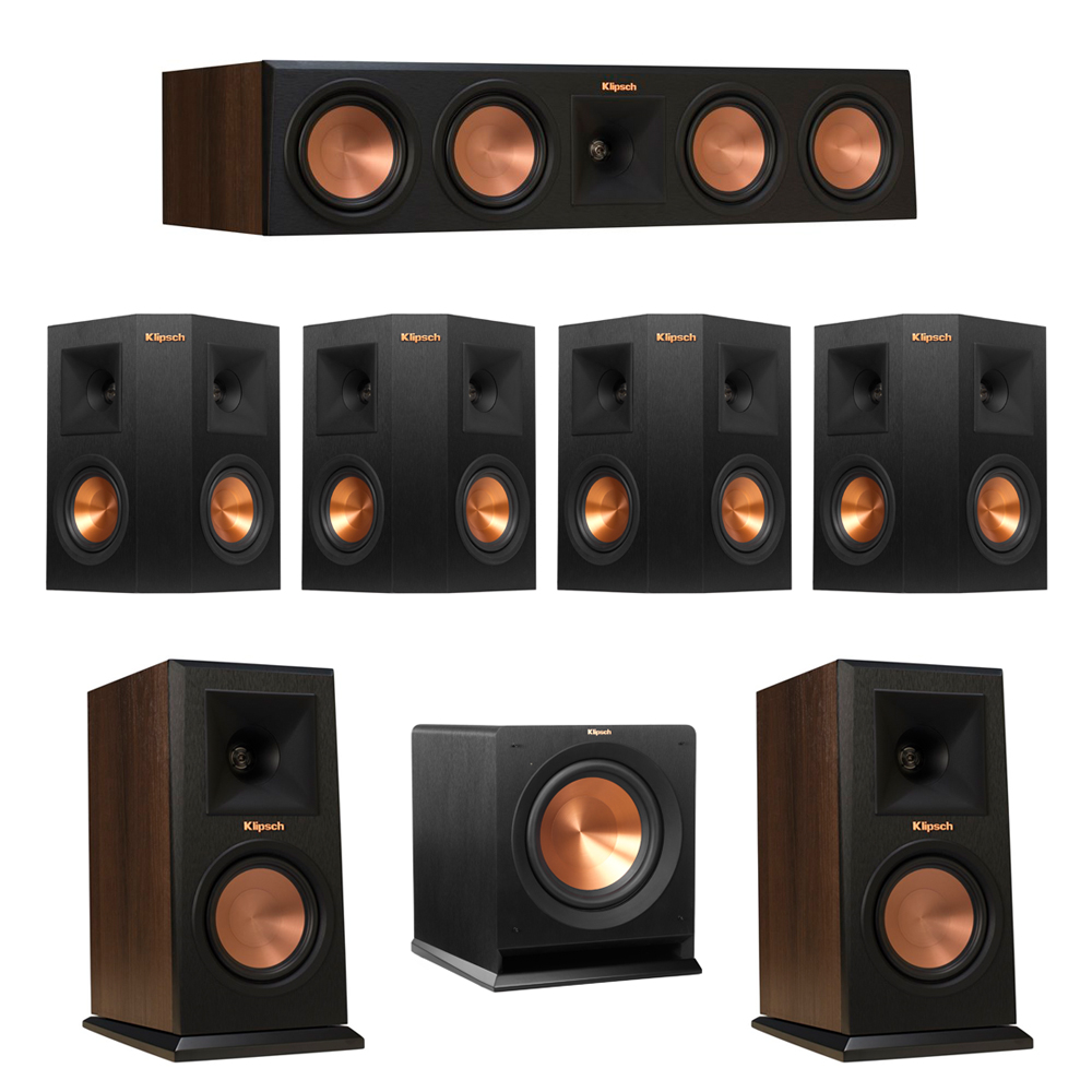 Klipsch 7.1 Walnut System with 2 RP-150M Monitor Speakers, 1 RP-450C Center Speaker, 4 Klipsch RP-240S Ebony Surround Speakers, 1 Klipsch R-110SW Subwoofer