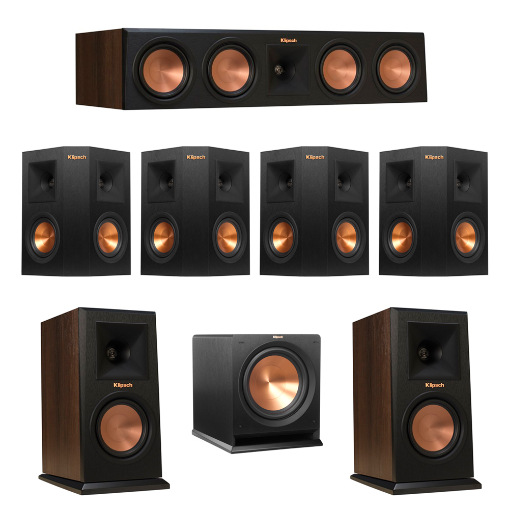 Klipsch 7.1 Walnut System with 2 RP-150M Monitor Speakers, 1 RP-450C Center Speaker, 4 Klipsch RP-240S Ebony Surround Speakers, 1 Klipsch R-112SW Subwoofer