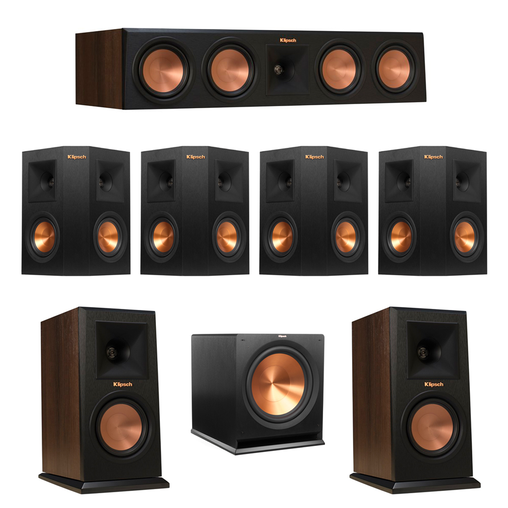 Klipsch 7.1 Walnut System with 2 RP-150M Monitor Speakers, 1 RP-450C Center Speaker, 4 Klipsch RP-240S Ebony Surround Speakers, 1 Klipsch R-115SW Subwoofer