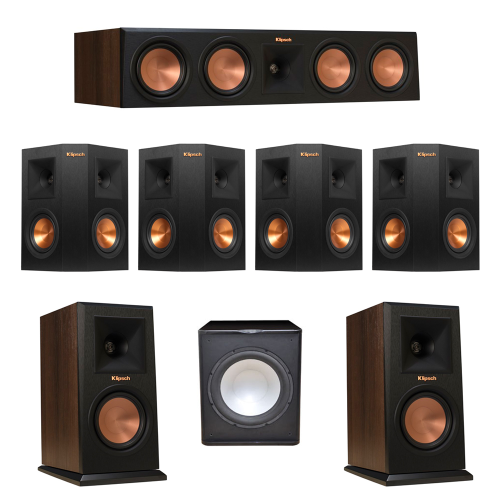 Klipsch 7.1 Walnut System with 2 RP-150M Monitor Speakers, 1 RP-450C Center Speaker, 4 Klipsch RP-240S Ebony Surround Speakers, 1 Premier Acoustic PA-150 Subwoofer