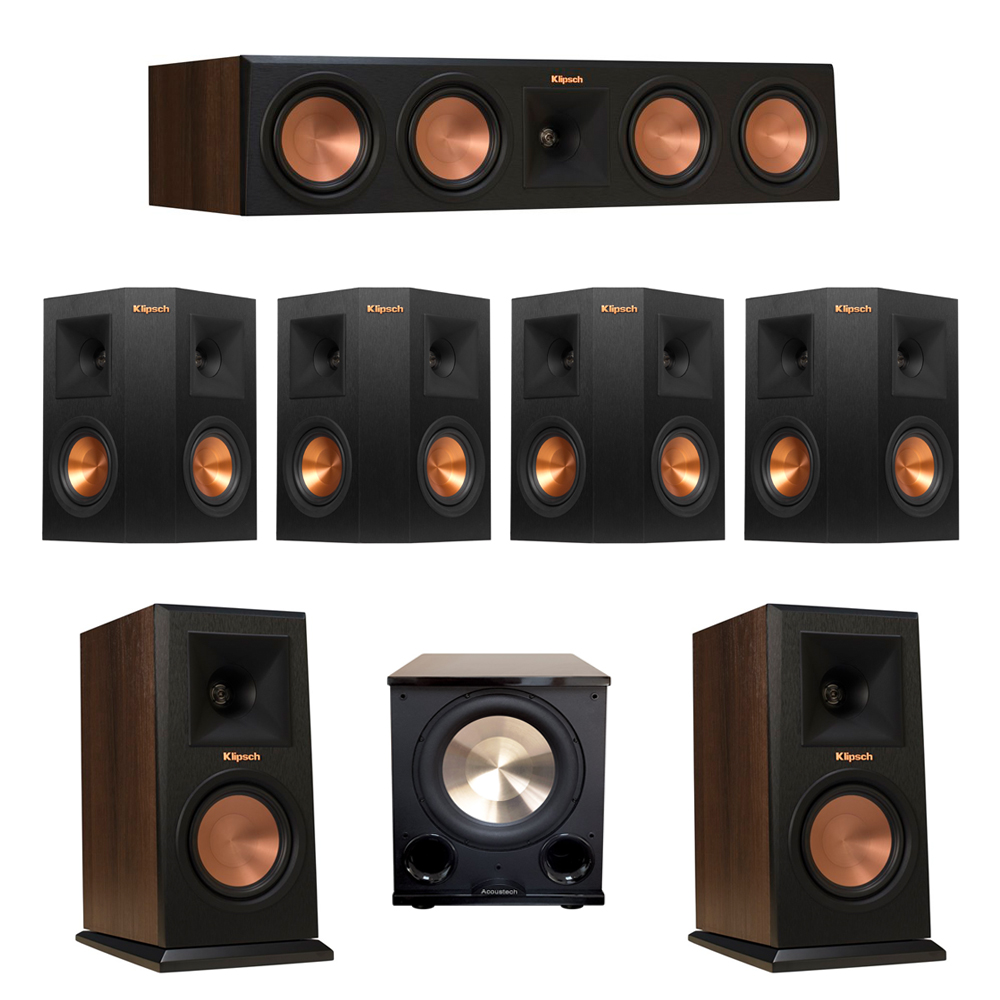 Klipsch 7.1 Walnut System with 2 RP-150M Monitor Speakers, 1 RP-450C Center Speaker, 4 Klipsch RP-240S Ebony Surround Speakers, 1 BIC/Acoustech Platinum Series PL-200 II Subwoofer