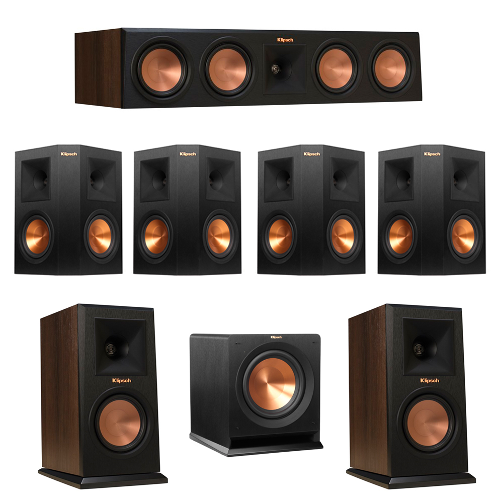 Klipsch 7.1 Walnut System with 2 RP-150M Monitor Speakers, 1 RP-450C Center Speaker, 4 Klipsch RP-250S Ebony Surround Speakers, 1 Klipsch R-110SW Subwoofer