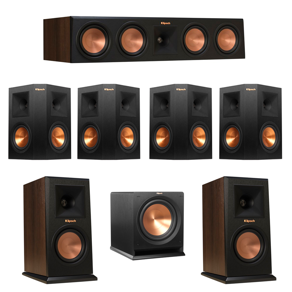 Klipsch 7.1 Walnut System with 2 RP-150M Monitor Speakers, 1 RP-450C Center Speaker, 4 Klipsch RP-250S Ebony Surround Speakers, 1 Klipsch R-112SW Subwoofer