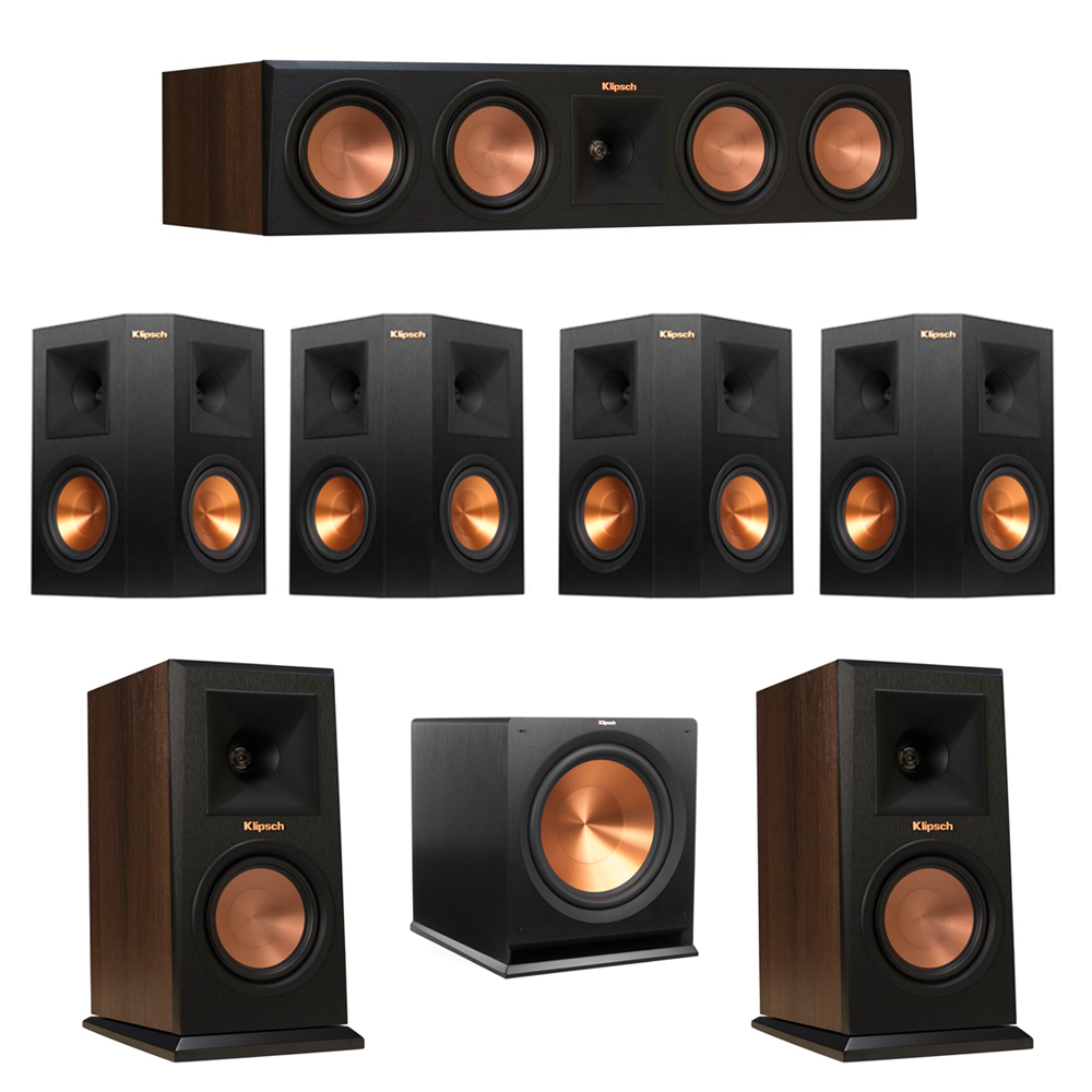Klipsch 7.1 Walnut System with 2 RP-150M Monitor Speakers, 1 RP-450C Center Speaker, 4 Klipsch RP-250S Ebony Surround Speakers, 1 Klipsch R-115SW Subwoofer