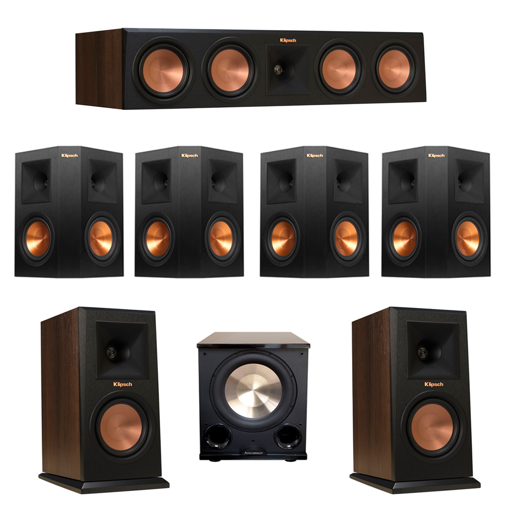 Klipsch 7.1 Walnut System with 2 RP-150M Monitor Speakers, 1 RP-450C Center Speaker, 4 Klipsch RP-250S Ebony Surround Speakers, 1 BIC/Acoustech Platinum Series PL-200 II Subwoofer
