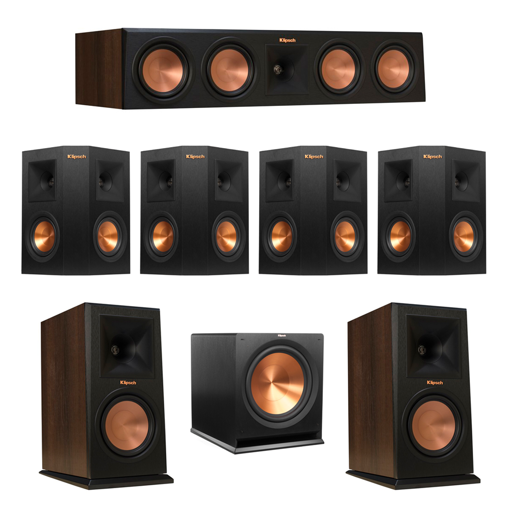 Klipsch 7.1 Walnut System with 2 RP-160M Monitor Speakers, 1 RP-450C Center Speaker, 4 Klipsch RP-240S Ebony Surround Speakers, 1 Klipsch R-115SW Subwoofer