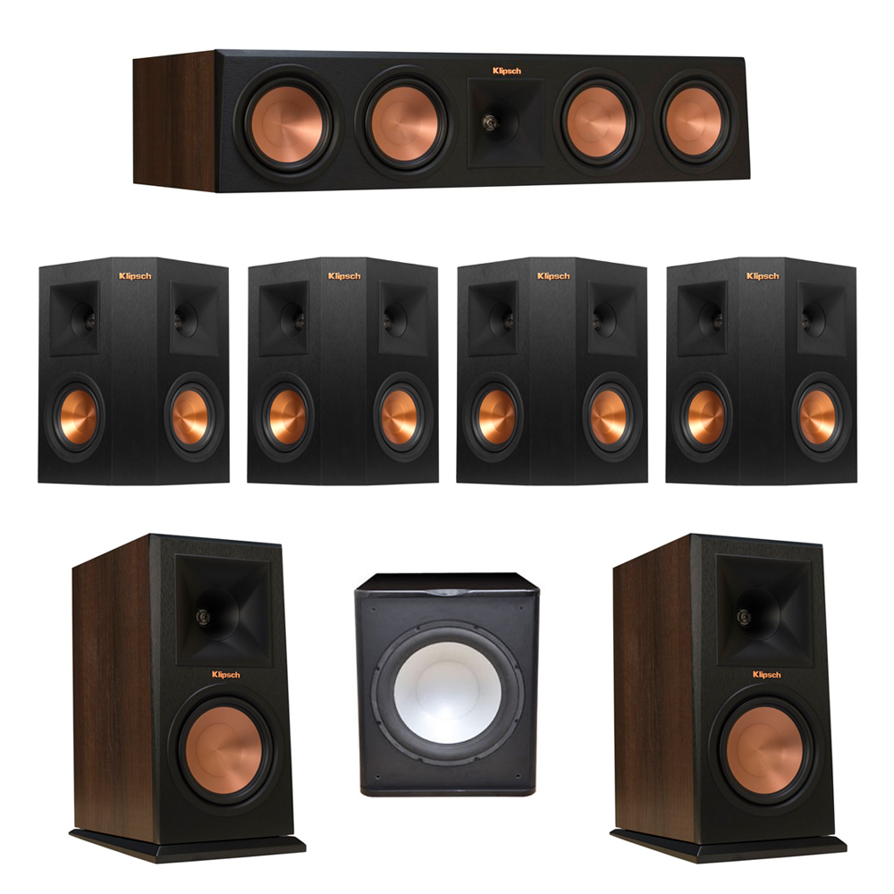 Klipsch 7.1 Walnut System with 2 RP-160M Monitor Speakers, 1 RP-450C Center Speaker, 4 Klipsch RP-240S Ebony Surround Speakers, 1 Premier Acoustic PA-150 Subwoofer