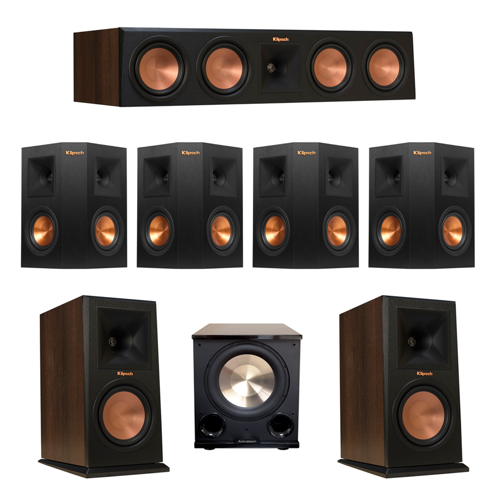 Klipsch 7.1 Walnut System with 2 RP-160M Monitor Speakers, 1 RP-450C Center Speaker, 4 Klipsch RP-240S Ebony Surround Speakers, 1 BIC/Acoustech Platinum Series PL-200 II Subwoofer