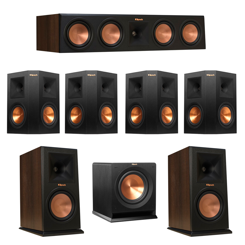 Klipsch 7.1 Walnut System with 2 RP-160M Monitor Speakers, 1 RP-450C Center Speaker, 4 Klipsch RP-250S Ebony Surround Speakers, 1 Klipsch R-110SW Subwoofer