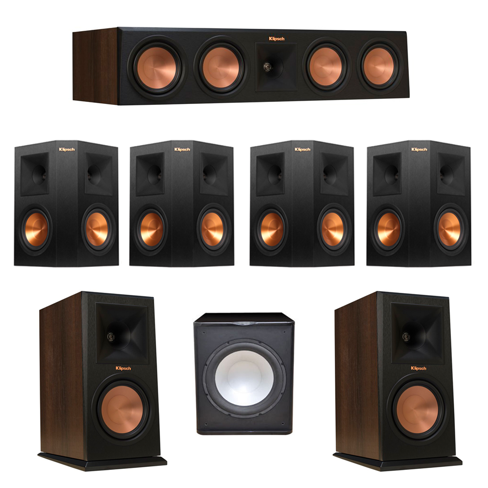 Klipsch 7.1 Walnut System with 2 RP-160M Monitor Speakers, 1 RP-450C Center Speaker, 4 Klipsch RP-250S Ebony Surround Speakers, 1 Premier Acoustic PA-150 Subwoofer