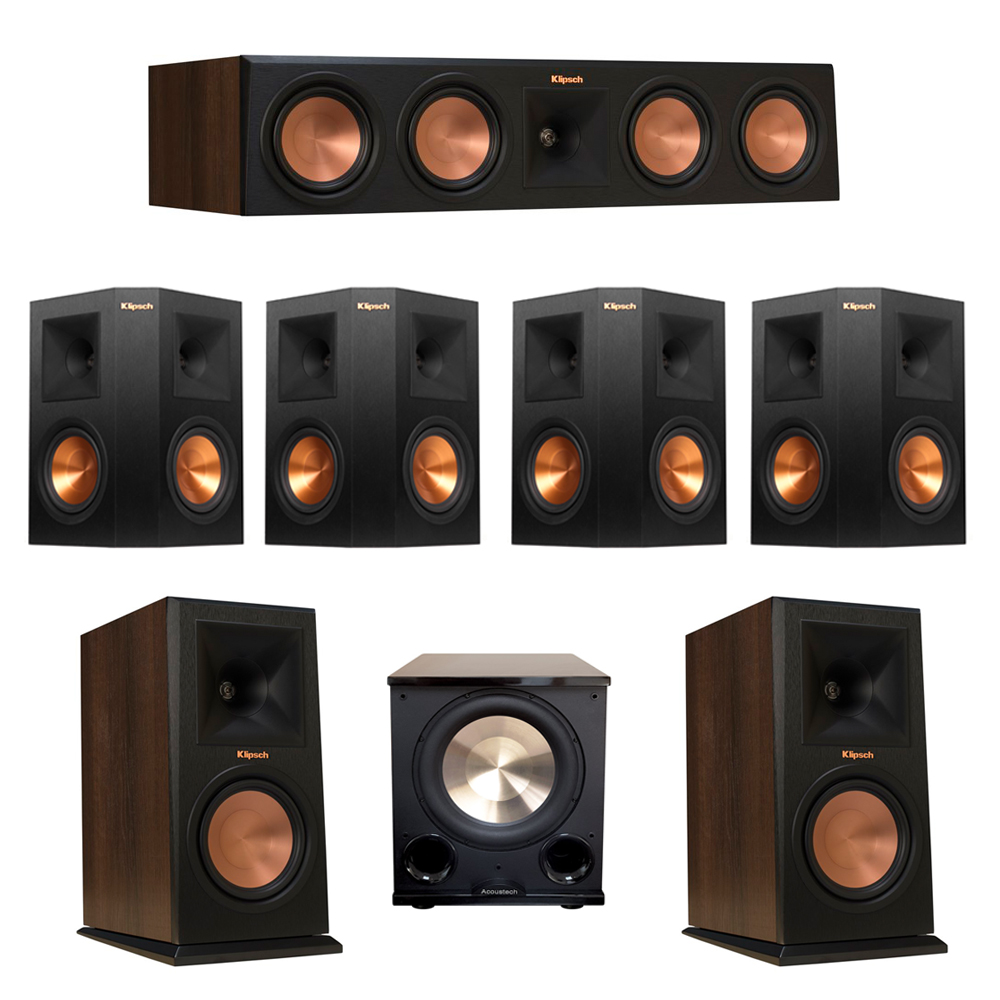 Klipsch 7.1 Walnut System with 2 RP-160M Monitor Speakers, 1 RP-450C Center Speaker, 4 Klipsch RP-250S Ebony Surround Speakers, 1 BIC/Acoustech Platinum Series PL-200 II Subwoofer
