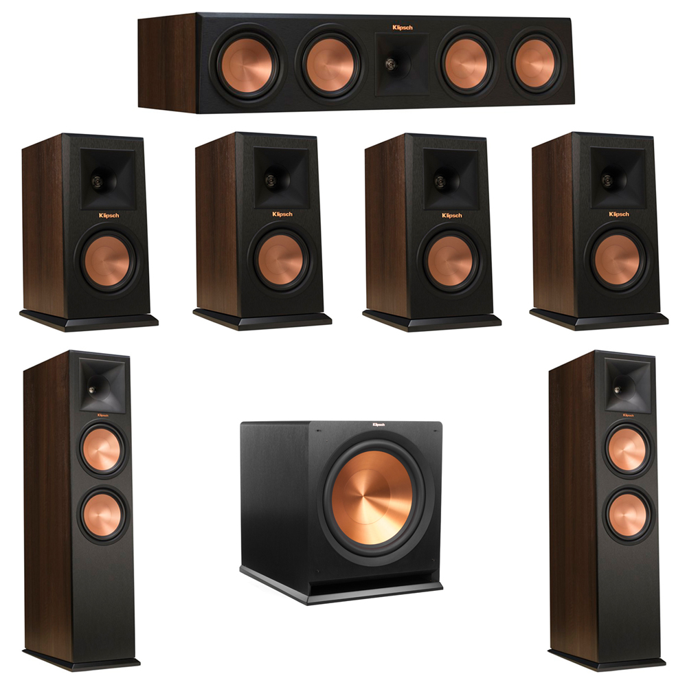 Klipsch 7.1 Walnut System with 2 RP-280F Tower Speakers, 1 RP-450C Center Speaker, 4 Klipsch RP-150M Bookshelf Speakers, 1 Klipsch R-115SW Subwoofer