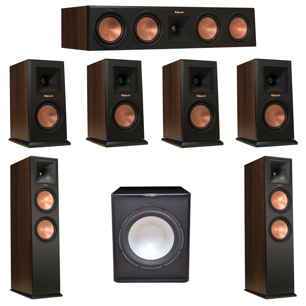 Klipsch 7.1 Walnut System with 2 RP-280F Tower Speakers, 1 RP-450C Center Speaker, 4 Klipsch RP-150M Bookshelf Speakers, 1 Premier Acoustic PA-150 Subwoofer