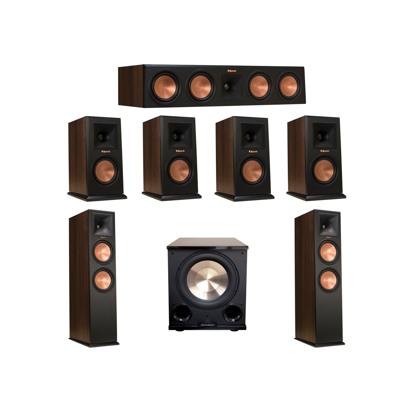 Klipsch 7.1 Walnut System with 2 RP-280F Tower Speakers, 1 RP-450C Center Speaker, 4 Klipsch RP-150M Bookshelf Speakers, 1 BIC/Acoustech Platinum Series PL-200 II Subwoofer
