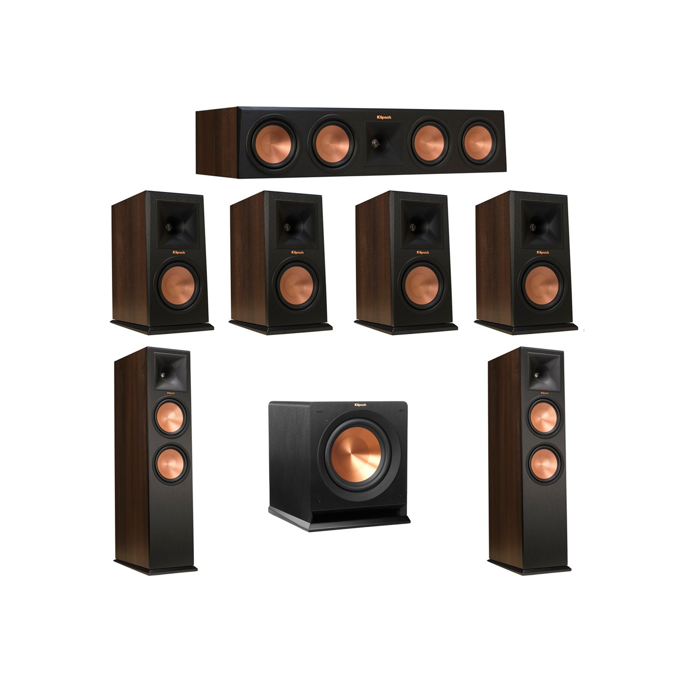 Klipsch 7.1 Walnut System with 2 RP-280F Tower Speakers, 1 RP-450C Center Speaker, 4 Klipsch RP-160M Bookshelf Speakers, 1 Klipsch R-110SW Subwoofer