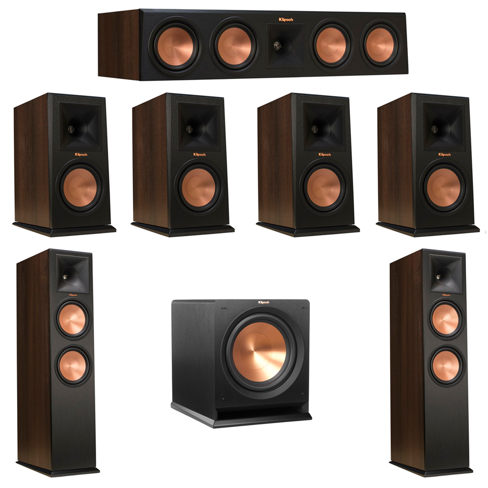 Klipsch 7.1 Walnut System with 2 RP-280F Tower Speakers, 1 RP-450C Center Speaker, 4 Klipsch RP-160M Bookshelf Speakers, 1 Klipsch R-112SW Subwoofer