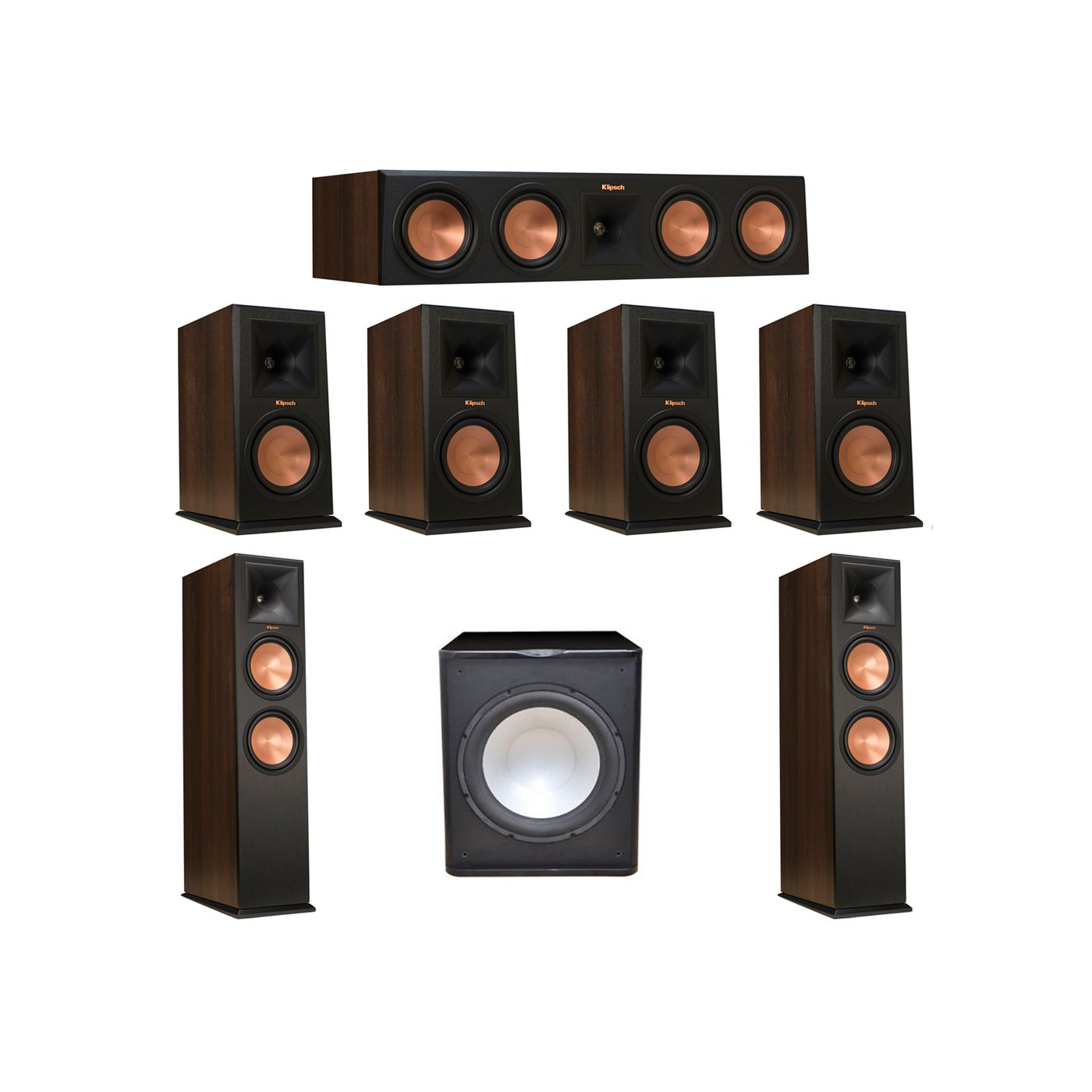 Klipsch 7.1 Walnut System with 2 RP-280F Tower Speakers, 1 RP-450C Center Speaker, 4 Klipsch RP-160M Bookshelf Speakers, 1 Premier Acoustic PA-150 Subwoofer