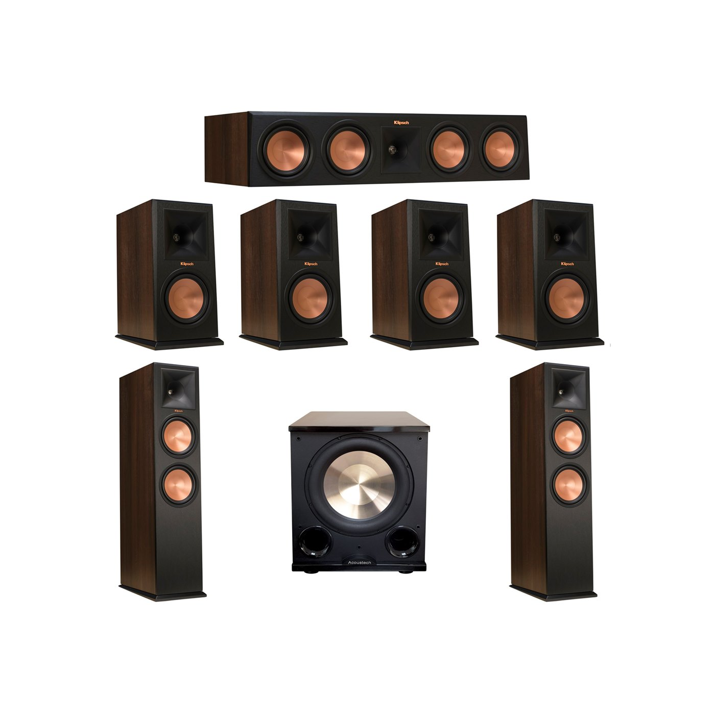 Klipsch 7.1 Walnut System with 2 RP-280F Tower Speakers, 1 RP-450C Center Speaker, 4 Klipsch RP-160M Bookshelf Speakers, 1 BIC/Acoustech Platinum Series PL-200 II Subwoofer