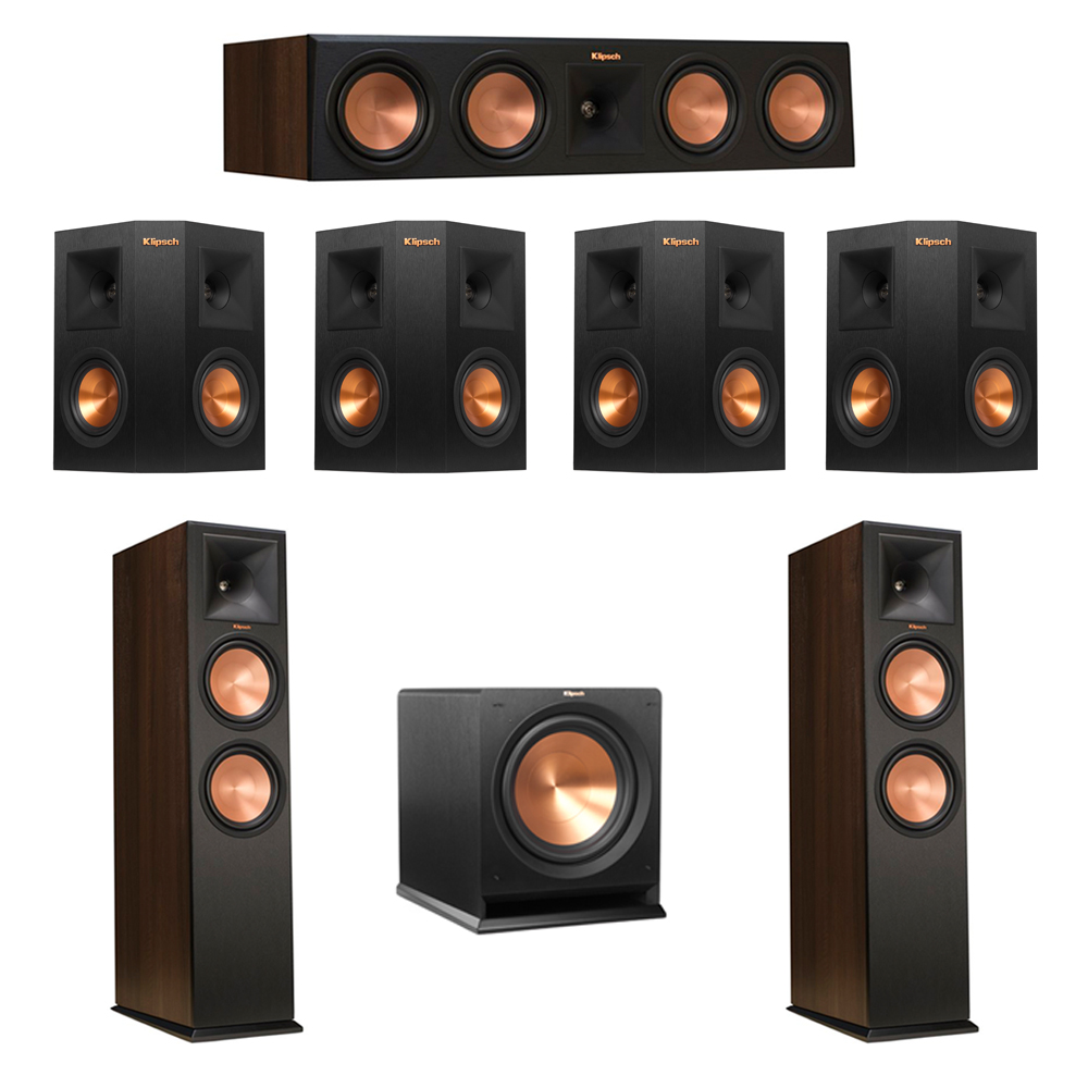 Klipsch 7.1 Walnut System with 2 RP-280F Tower Speakers, 1 RP-450C Center Speaker, 4 Klipsch RP-240S Ebony Surround Speakers, 1 Klipsch R-112SW Subwoofer