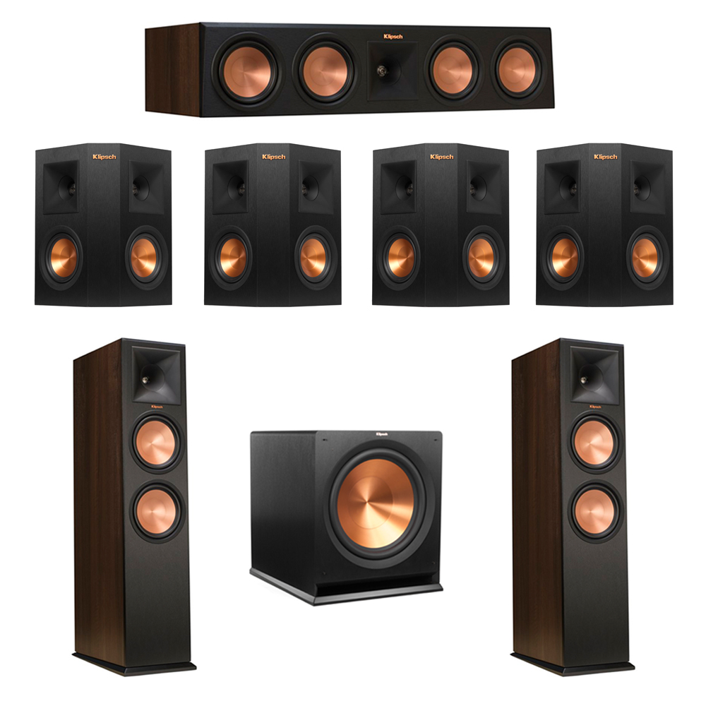 Klipsch 7.1 Walnut System with 2 RP-280F Tower Speakers, 1 RP-450C Center Speaker, 4 Klipsch RP-240S Ebony Surround Speakers, 1 Klipsch R-115SW Subwoofer