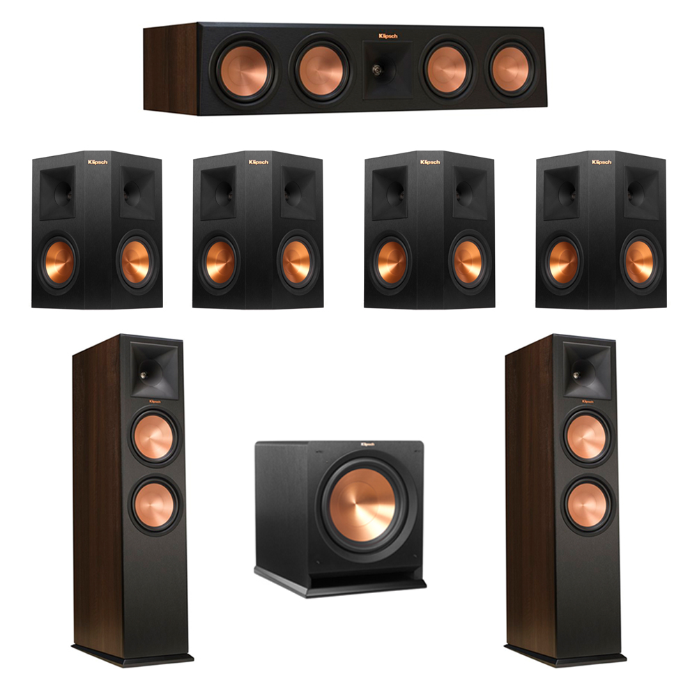 Klipsch 7.1 Walnut System with 2 RP-280F Tower Speakers, 1 RP-450C Center Speaker, 4 Klipsch RP-250S Ebony Surround Speakers, 1 Klipsch R-112SW Subwoofer