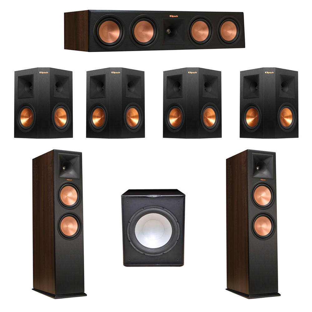 Klipsch 7.1 Walnut System with 2 RP-280F Tower Speakers, 1 RP-450C Center Speaker, 4 Klipsch RP-250S Ebony Surround Speakers, 1 Premier Acoustic PA-150 Subwoofer