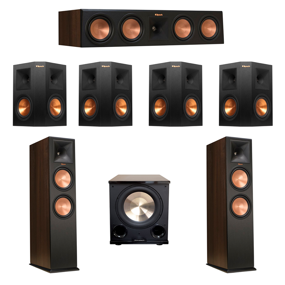 Klipsch 7.1 Walnut System with 2 RP-280F Tower Speakers, 1 RP-450C Center Speaker, 4 Klipsch RP-250S Ebony Surround Speakers, 1 BIC/Acoustech Platinum Series PL-200 II Subwoofer