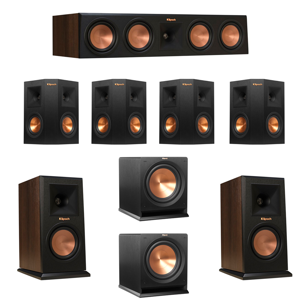 Klipsch 7.2 Walnut System with 2 RP-150M Monitor Speakers, 1 RP-450C Center Speaker, 4 Klipsch RP-240S Ebony Surround Speakers, 2 Klipsch R-112SW Subwoofer