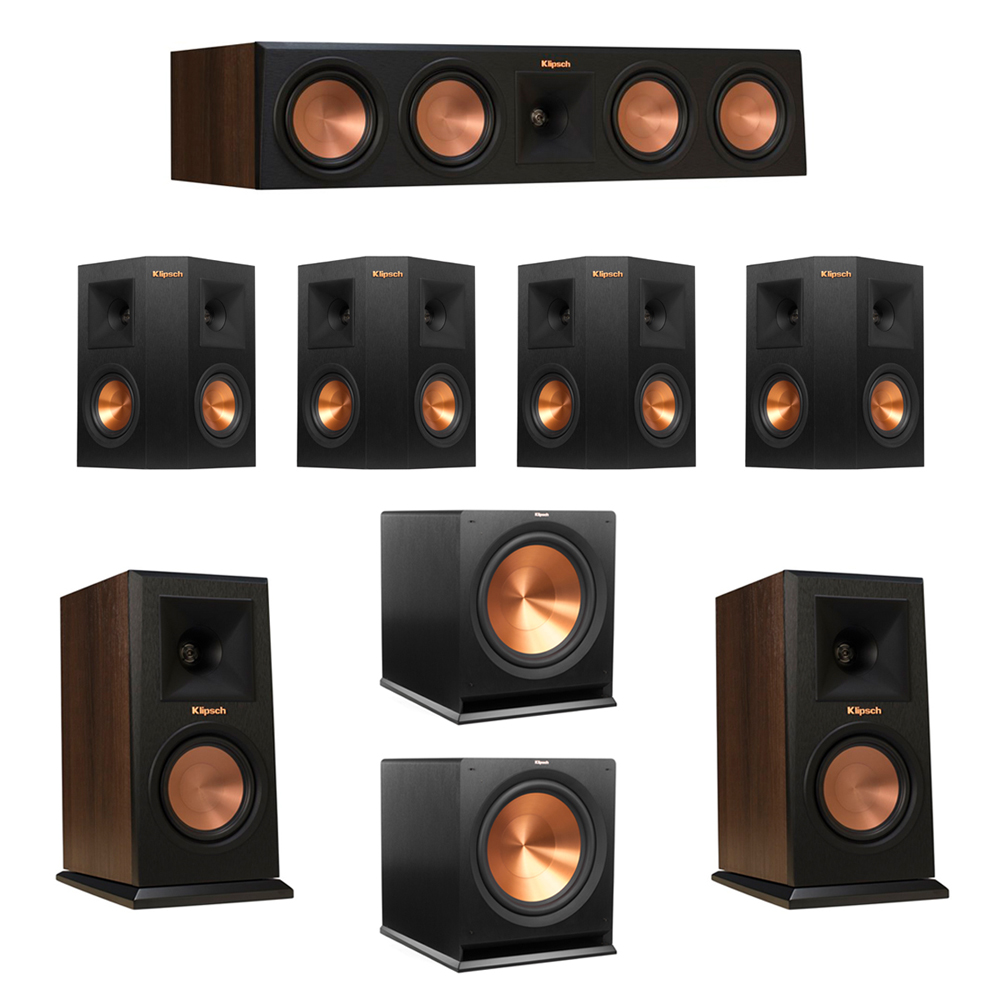 Klipsch 7.2 Walnut System with 2 RP-150M Monitor Speakers, 1 RP-450C Center Speaker, 4 Klipsch RP-240S Ebony Surround Speakers, 2 Klipsch R-115SW Subwoofer