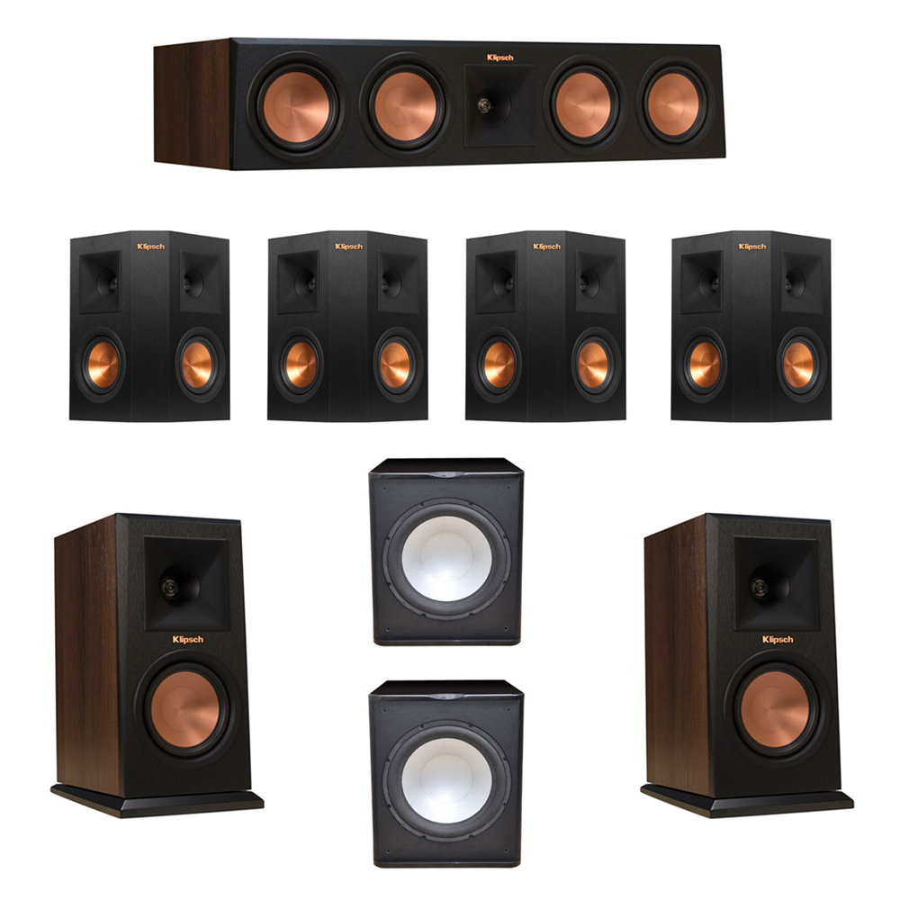 Klipsch 7.2 Walnut System with 2 RP-150M Monitor Speakers, 1 RP-450C Center Speaker, 4 Klipsch RP-240S Ebony Surround Speakers, 2 Premier Acoustic PA-150 Subwoofer