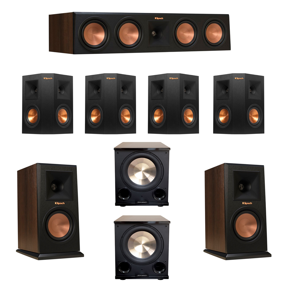 Klipsch 7.2 Walnut System with 2 RP-150M Monitor Speakers, 1 RP-450C Center Speaker, 4 Klipsch RP-240S Ebony Surround Speakers, 2 BIC/Acoustech Platinum Series PL-200 II Subwoofer