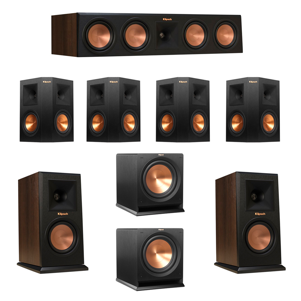 Klipsch 7.2 Walnut System with 2 RP-150M Monitor Speakers, 1 RP-450C Center Speaker, 4 Klipsch RP-250S Ebony Surround Speakers, 2 Klipsch R-112SW Subwoofer