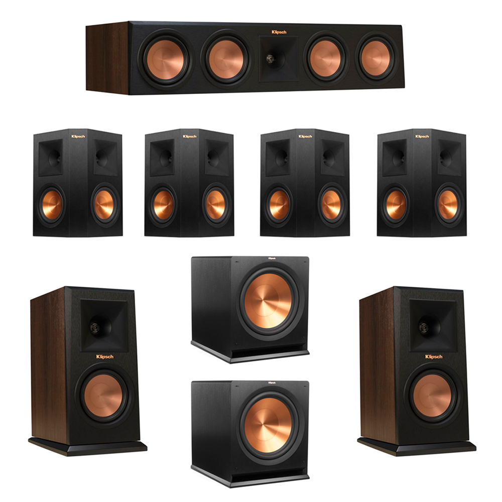 Klipsch 7.2 Walnut System with 2 RP-150M Monitor Speakers, 1 RP-450C Center Speaker, 4 Klipsch RP-250S Ebony Surround Speakers, 2 Klipsch R-115SW Subwoofer
