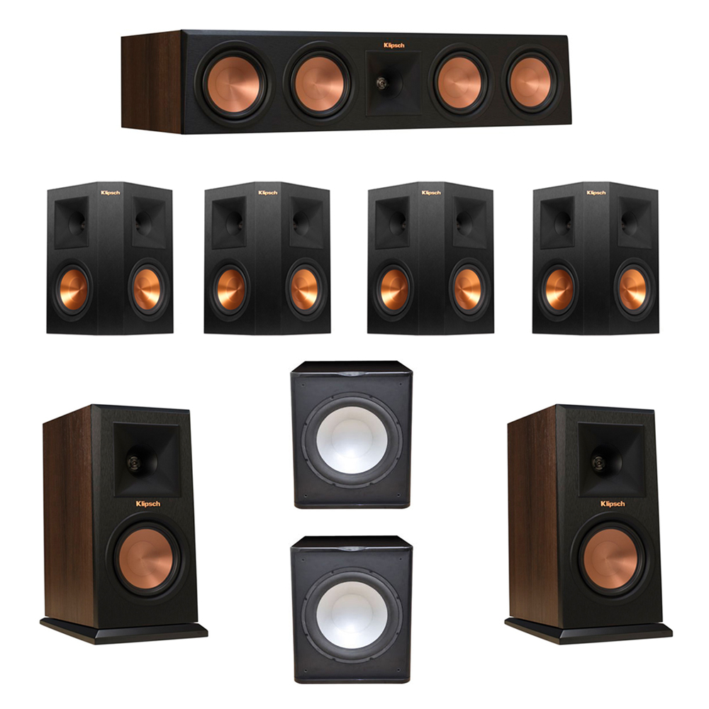 Klipsch 7.2 Walnut System with 2 RP-150M Monitor Speakers, 1 RP-450C Center Speaker, 4 Klipsch RP-250S Ebony Surround Speakers, 2 Premier Acoustic PA-150 Subwoofer