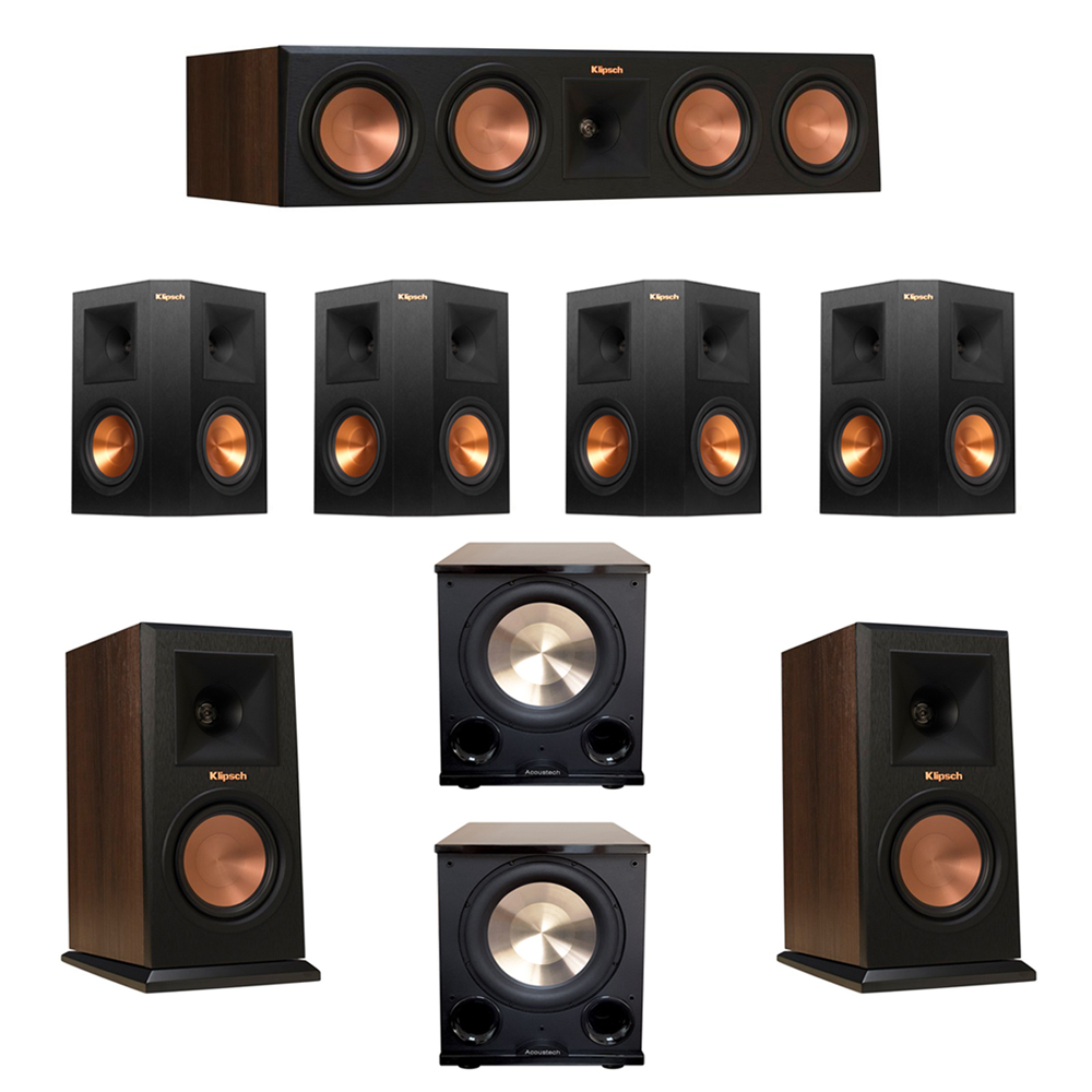 Klipsch 7.2 Walnut System with 2 RP-150M Monitor Speakers, 1 RP-450C Center Speaker, 4 Klipsch RP-250S Ebony Surround Speakers, 2 BIC/Acoustech Platinum Series PL-200 II Subwoofer