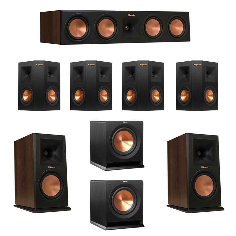 Klipsch 7.2 Walnut System with 2 RP-160M Monitor Speakers, 1 RP-450C Center Speaker, 4 Klipsch RP-240S Ebony Surround Speakers, 2 Klipsch R-110SW Subwoofer