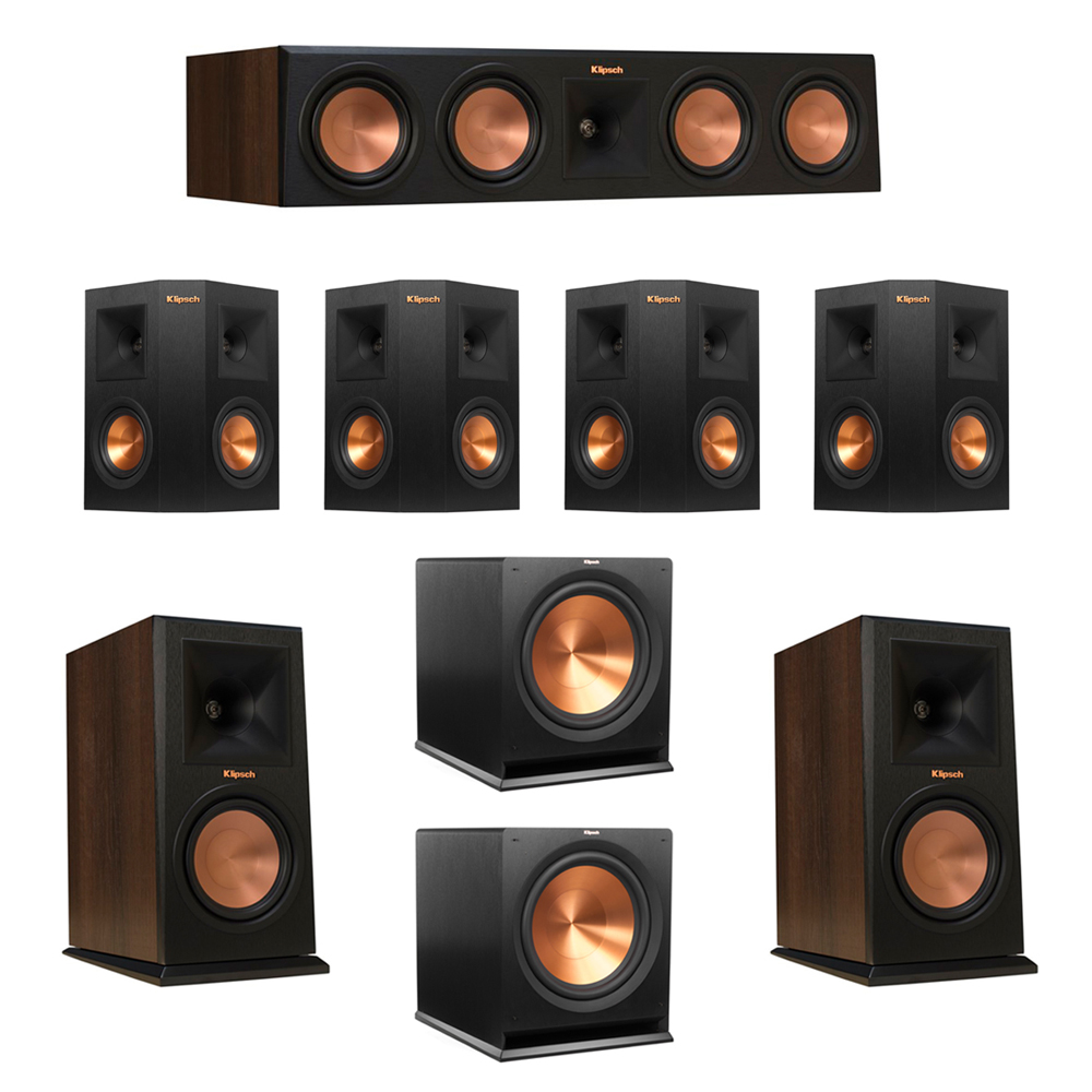Klipsch 7.2 Walnut System with 2 RP-160M Monitor Speakers, 1 RP-450C Center Speaker, 4 Klipsch RP-240S Ebony Surround Speakers, 2 Klipsch R-115SW Subwoofer