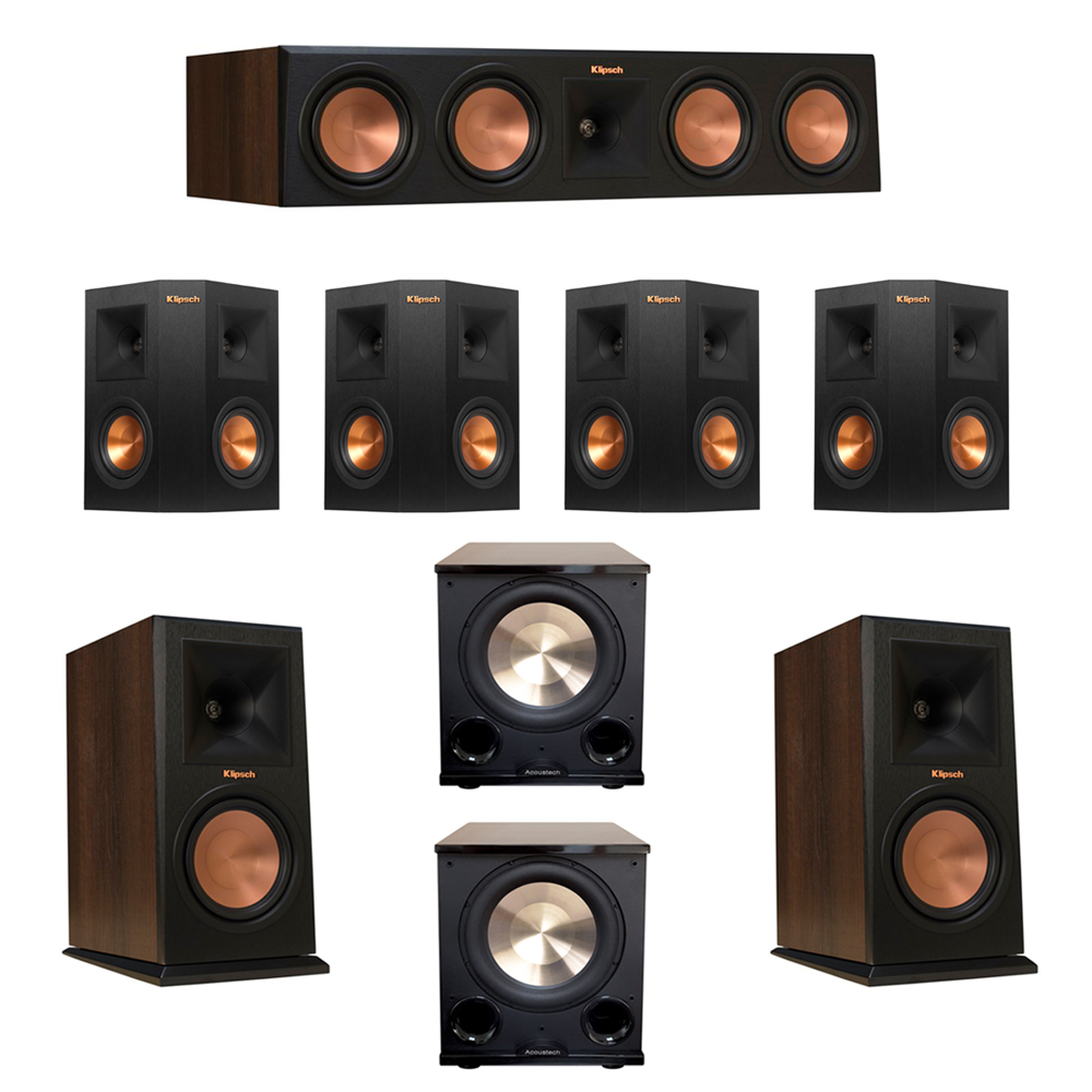 Klipsch 7.2 Walnut System with 2 RP-160M Monitor Speakers, 1 RP-450C Center Speaker, 4 Klipsch RP-240S Ebony Surround Speakers, 2 BIC/Acoustech Platinum Series PL-200 II Subwoofer